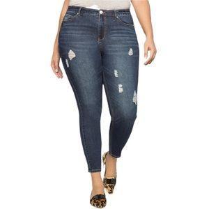 Eloquii   Peach Lift Distressed Dark Skinny Jean